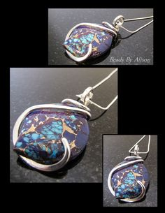 Purple Mohave Turquoise steriling silver pendant  Pendants - Beads By Alison