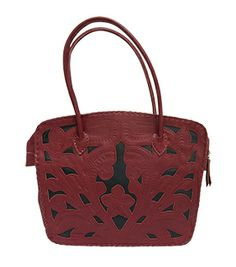 Leaders Wedge Purse 5058T red/black tooled wedge purse