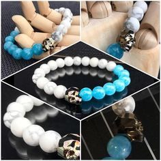 Sale! Skull Bracelet with Silver Swarovski Crystal Skull, White Howlite and Aquamarine. 10mm beads on crystal elastic. $65 not including postage. #marshyrjewellery #whitehowlite #aquamarine #swarovski #skull