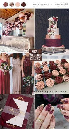 pantone rose brown, burgundy and rose gold wedding color ideas for 2020 Brown Wedding Themes, Gold Wedding Colors, Gold Wedding Theme, Gold Wedding Decorations, Rose Wedding, Wedding Color Schemes, Fall Wedding, Floral Wedding, Wedding Ideas