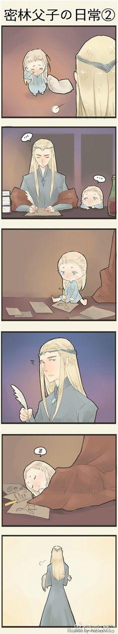 Thranduil and little Legolas Nekomiko_秘制沙包(微博)