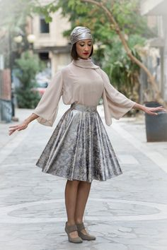 skater skirt midi  high waist in silver by paraskeloufashion
