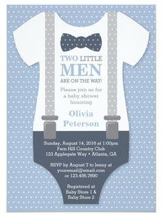 Twin Little Men Baby Shower Invitation in Blue and Gray, Baby Shower Invitation for Twin Boys