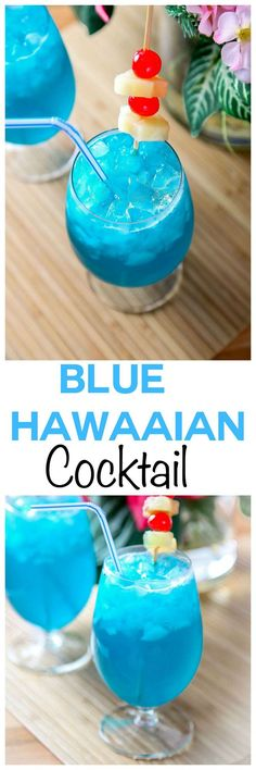 Blue Hawaiian Cocktail: Transport yourself with this tropical pineapple and coconut cocktail. The most refreshing summer cocktail around. - Drinks For Healthy Living Drink Party, Party Drinks Alcohol, Drinks Alcohol Recipes, Bar Drinks, Cocktail Drinks, Blue Alcoholic Drinks, Cocktail Ideas, Cocktail Recipes, Drambuie Cocktails