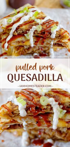 This Pulled Pork Quesadilla recipe is the perfect sweet and savory appetizer. Filled with juicy pulled pork, caramelized onions and topped with BBQ sauce. Meat Appetizers, Appetizer Recipes, Mexican Cooking, Mexican Food Recipes, Enchilada Sauce, Quesadillas, Pork Recipes, Cooking Recipes, Cinco De Mayo