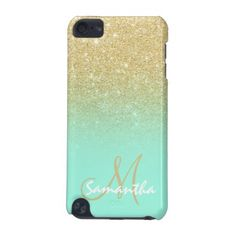 Modern gold ombre mint green block personalized iPod touch case - tap, personalize, buy right now! Walpaper Iphone, Phone Background Patterns, Iphone Charger, Ipod Cases, Diy Videos, Phone Holder, Ipod Touch, Mint Green, Phone Accessories