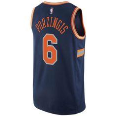 adidas Men's Kristaps Porzingis New York Knicks City Swingman Jersey ($110) ❤ liked on Polyvore featuring men's fashion, men's clothing, men's activewear, men's activewear tops, navy, mens nba jerseys, mens basketball jerseys and mens jerseys
