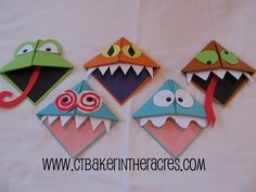 We a going to make these as Christmas gifts. Might do these monsters or possibly an elf theme using holiday paper.  For a classroom, read a book and then make these from characters in the stories. Or make them represent how the story made you feel. It's an origami book report!