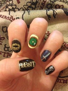 The Hobbit: An Unexpected Journey nails (with Black Milk Lord of the Rings map leggings in the background)