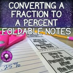 This reference and graphic organizer introduces conversions between fractions and percents. It is the perfect addition to an interactive notebook in math. Especially useful for students who need additional support and a visual reference.