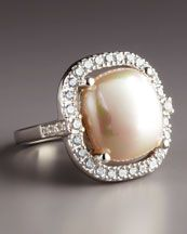 Majorica  Sterling Silver Pearl Ring, 15mm