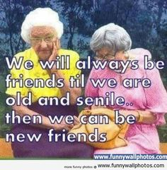 We will always be friends until we are old and senile