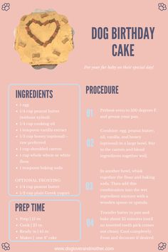 DIY Dog Birthday Cake Recipe Card - Dog cakes and treats recipes - A fan-favorite dog-friendly cake recipe that your fur baby will absolutely love! Informations About - Dog Safe Cake Recipe, Dog Cake Recipes, Dog Biscuit Recipes, Dog Treat Recipes, Dog Food Recipes, Homemade Dog Treats, Healthy Dog Treats, Dog Friendly Cake, Foods Dogs Can Eat