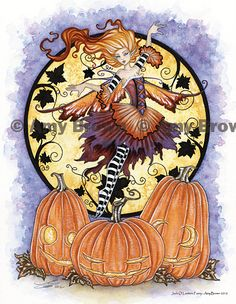 """Amy Brown: Fairy Art - The Official Gallery - """"Jack o' Lantern Fairy"""""""