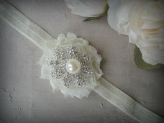 Ivory  Elastic Baby Girl Head Band - Flower Head Band -Christening Headband - Baptism Headband-Flower Girl Headband
