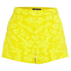 French Connection Mini Shorts, Trouble Yellow (790 UAH) ❤ liked on Polyvore featuring shorts, bottoms, short, pants, yellow, micro shorts, yellow short shorts, yellow shorts, mini short shorts and micro short shorts