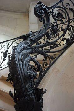Art Nouveau Architecture, Beautiful Architecture, Architecture Details, Wrought Iron Handrail, Iron Handrails, Grand Staircase, Staircase Design, Stairs And Doors, Sculpture Metal