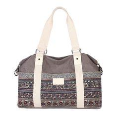Floral Canvas Tote Crossbody Messenger Bag Shoulder Bag Women's Weekend Handbag