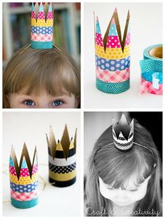 Toilet paper roll crowns - recycling fun.