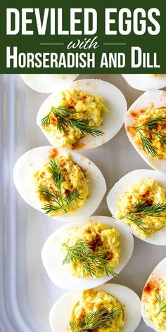 Deviled Eggs with Horseradish and Dill! Be the superstar of your next potluck by giving your deviled eggs a kick! A touch of horseradish spices things up, while a sprig of dill cools things down! Make them for Passover, Easter, or any spring gathering. #deviledeggrecipe #deviledeggs #appetizer #passover #simplyrecipes #easter Deviled Eggs With Relish, Healthy Deviled Eggs, Devilled Eggs Recipe Best, Avocado Deviled Eggs, Deviled Eggs Recipe, Deviled Eggs With Horseradish, Easter Deviled Eggs, Horseradish Recipes, Dill Recipes