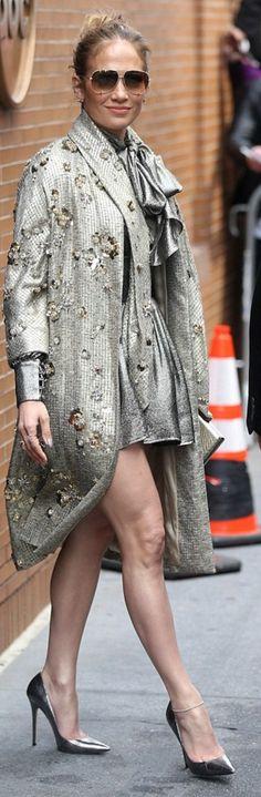 Jennifer Lopez in Coat – Jenny Packham  Sunglasses – Dita  Dress -Misha Collection  Shoes – Jimmy Choo