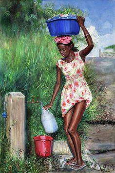 Avon at Standpipe by Jonathan Guy-Gladding JAG Black Love Art, Black Girl Art, Art Girl, Black Is Beautiful, Black Art Painting, Black Artwork, Arte Black, African American Artwork, African Art Paintings
