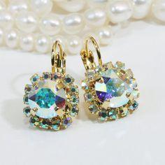 AB Crystal Earrings Ab Gold Bridal Drop Aurora Borealis Crystal Gold finish Leverback Earrings real swarovski rhinestones ,Crystal AB,GE96
