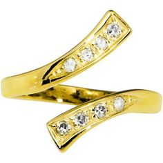 Solid 14K Yellow Gold .08 Carat Genuine Diamond Paved Adjustable Toe Ring Body Candy. $279.60
