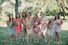 bright and happy bridesmaids in a rainbow of colors  Photography by qavenuephoto.com