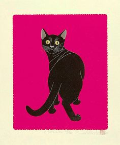 Black Cat , Woodblock print of Japanese printmaker Tadashige Nishida born in 1942 (This is a pose of a Cat in Heat)