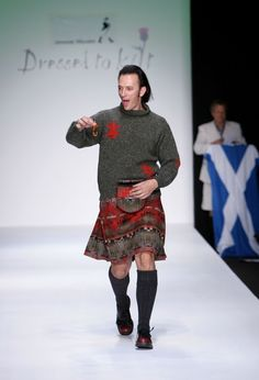 Actor Steve Valentine walks the runway at the Johnnie Walker Dressed to Kilt 2006 fashion show during the Mercedes Benz Fashion Week at Smashbox Studios in the main tent October 2006 in Culver City, California. Steve Valentine, Tweed, Man Skirt, Scottish Plaid, Scottish Fashion, Men In Kilts, Fashion Show, Mens Fashion, Tartan
