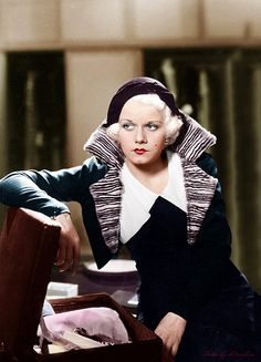 Jean Harlow. (Colorized Photo).