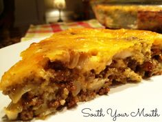 CHEESEBURGER PIE • Ingredients: 1 lb ground beef, 1 medium onion chopped, 1-oz pkt Onion or Beefy Onion soup mix, 8 oz sharp cheddar cheese shredded, 1/2 C Bisquick or all-purpose flour, 1 C milk, 1/2 tsp dry mustard, 1/2 tsp black pepper, 1/8 tsp salt, 2 eggs slightly beaten, Optional: Dill pickle or fresh tomato slices on top before baking