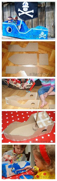 DIY Cardboard Pirate Ship - a simple process to turn a cardboard box into a fun Pirate Ship to play with. How we love a cute Pirate DIY!