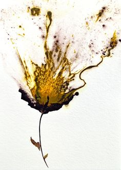 """""""Art, Yellow Flower, Floral Painting, Modern Home Decor, Abstract Art"""" - Acrylic On Cotton Ragg Paper, in Floral and Flower Paintings by Catherine Jeltes"""