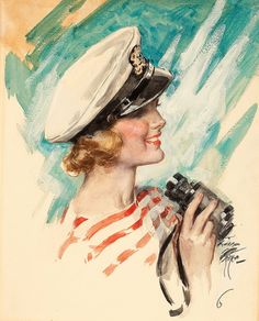 Harrison Fisher  This nautical themed beauty was on the cover of Cosmopolitan magazine in April 1946.