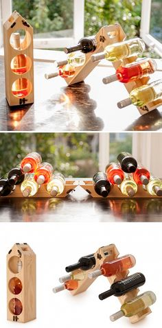 Wooden gift box for wine that turns into a wine rack that can hold up to 12 bottles of wine.