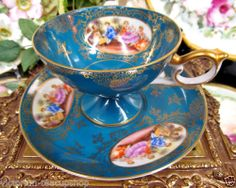 STUNNING LEFTON TEA CUP AND SAUCER COURTING COUPLE PATTERN TEACUP LOVE STORY