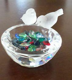swarovski crystals for the birdbath figurine | Details about SWAROVSKI CRYSTAL FIGURINE BIRD BATH WITH COLOR CRYSTALS ...