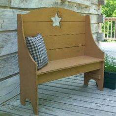 Primitive Old Star Bench … idea for color to paint bench on front porch Primitive Homes, Primitive Stars, Primitive Crafts, Country Primitive, Primitive Snowmen, Primitive Christmas, Country Christmas, Christmas Snowman, Primitive Furniture