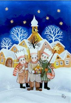 Tříkrálová koleda | benackova.cz Aa School, School Clubs, Winter Christmas, Christmas Time, Christmas Ornaments, Advent, Folk Art, Fairy Tales, Techno