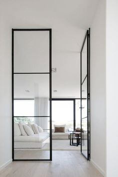 Guides to Choosing A Glass Door Design That'll Fit Your House - Home Decoration Black Interior Doors, Home Interior, Modern Interior Design, Interior Architecture, Interior Decorating, Interior Glass Doors, Stylish Interior, Interior Minimalista, Sliding Glass Door