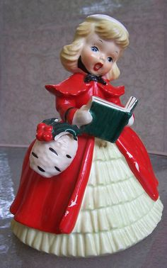 VINTAGE NAPCO CHRISTMAS GIRL PLANTER CAROLER RED DRESS & HOLLY LARGE FIGURINE