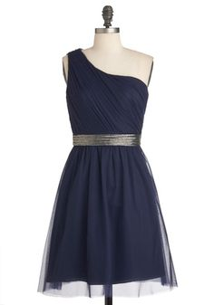 Comet Tail Hour Dress by Max and Cleo - Mid-length, Blue, Silver, Solid, Beads, Prom, Wedding, A-line, One Shoulder