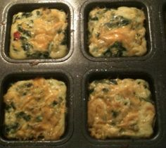 The Pampered Chef's Brownie Pan is great for making individual breakfast bakes.  The kids just pop a couple in the microwave for a quick breakfast.     Whisk 8 eggs with a little milk, put evenly into each cup, add leftover meat, green peppers, shredded cheddar cheese.  I use whatever cheese I have and leftover meat. $19.00
