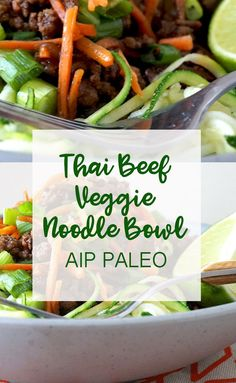 Use ground turkey Thai Beef & Veggie Noodle Bowl (Paleo, AIP) - Grazed & Enthused Autoimmun Paleo, Paleo Recipes, Paleo Meals, Paleo Food, Budget Recipes, Healthy Breakfasts, Frugal Meals, Thai Recipes, Vegetarian Food