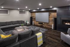Basement Man Cave Tv Wall, Man Cave Living Room, Man Cave Basement, Living Room Bar, Basement Movie Room, Home Theater Basement, Basement House, Basement Office, Basement Family Rooms