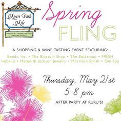 ~ Myers Park Mile Event Thursday the 21st! ~   Join Us for Fun Shopping & Treats!  www.meredithjackson.com  #myersparkmile #myerspark #providence #thevilla #winetasting #spring #springfling #fun #shop #shoplocal #shopsmall #charlotte #majdesigns
