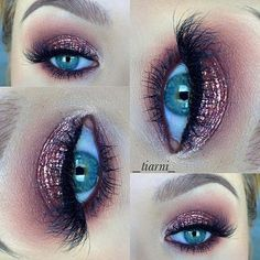 Rose glitter eye makeup for holiday parties