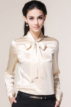 Spring Boutique Slim Butterfly Stand Collar Long Sleeve Silk Blouse